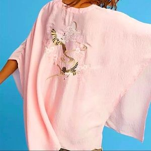 Anthro Floreat Pink Embroidered Poncho Tunic OSFM